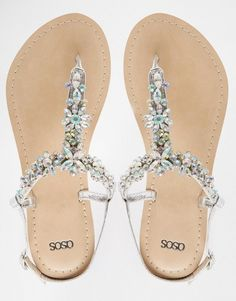 ASOS | ASOS FIJI Wide Fit Embellished Leather Flat Sandals