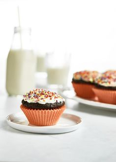 These vegan chocolate cupcakes are super light and fluffy, and they are seriously fail-proof! I've made them for years and they're easily the best chocolate cupcakes I've ever tasted, vegan or otherwise. They're topped with a salted buttercream and natural sprinkles....the perfect any occasion treat.