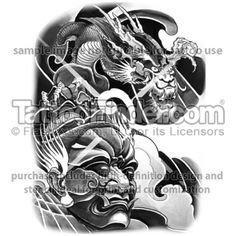 TattooFinder.com: Dragon Warrior tattoo design by East Tattoo, Asian, Japanese, mask, dragon, black and gray, shoulder, chest, arm, sleeve, water, waves