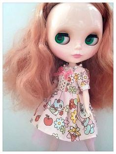 CottonCandyWorkshop Blythe dress pink retro by CottonCandyWorkshop