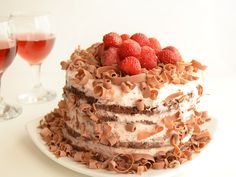 Delicious chocolate cake wit red wine and strawberry cream.