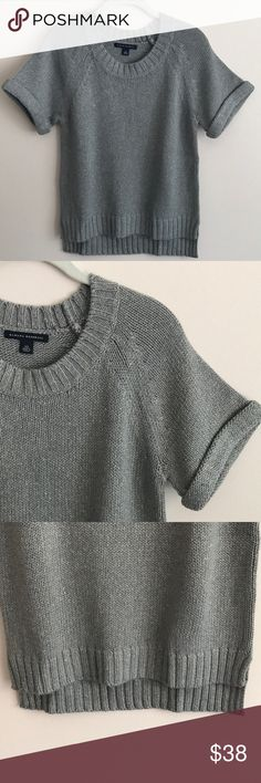 Banana Republic grey metallic hi/low sweater Banana Republic s/s grey sweater w/gold metallic flecks throughout, slouchy fit, pic doesn't do justice to how the metallic flecks actually show up - perfect condition worn once Banana Republic Sweaters Crew & Scoop Necks