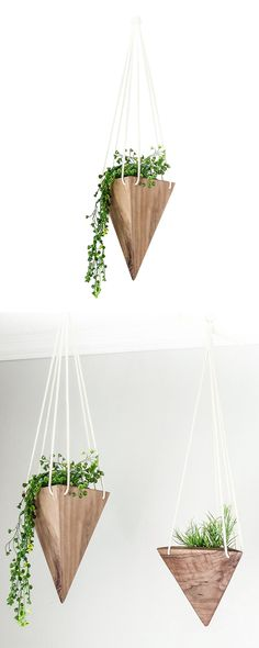 Hoist up your favorite plants in this handsome hanging home. Beautifully handmade from black walnut hardwood, each Arrowhead Hanging Planter features a charming geometric shape and a conveniently water...  Find the Arrowhead Hanging Planter, as seen in the The Industrial Botanist Collection at http://dotandbo.com/collections/the-industrial-botanist?utm_source=pinterest&utm_medium=organic&db_sku=118091