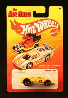 PORSCHE 917 (YELLOW) * The Hot Ones * 2011 Release of the 80's Classic Series - 1:64 Scale Throw Back HOT WHEELS Die-Cast Vehicle by Mattel. $11.99. PORSCHE 917 (YELLOW) * The Hot Ones * 2011 Release of the 80's Classic Series - 1:64 Scale Throw Back HOT WHEELS Die-Cast Vehicle. Ages 3 and up. From Mattel.. Lightning-fast non-powered die-cast metal racers!. Vehicle measures approximately 3 inches long.. Originally released in mid 2011, The Hot Ones line is a thr...