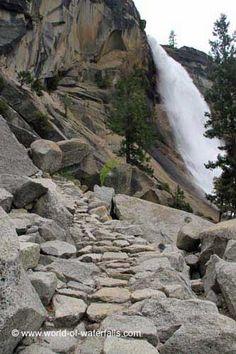 Ascending the Mist Trail alongside Nevada Fall, Yosemite National Park / Giant Stairway, California, USA