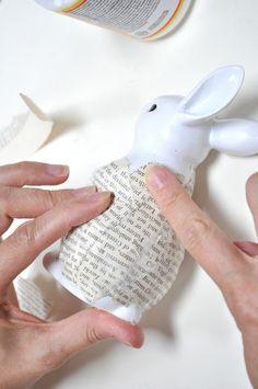 Little Birdie Secrets: spring easter decoupage bunny decor {tutorial} Diy Spring, Spring Crafts, Holiday Crafts, Spring Time, Easter Projects, Easter Crafts, Easter Ideas, Bunny Crafts, Dollar Store Crafts