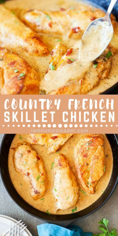 for a Weeknight Dinner Recipes? Make this Country French Skillet Chicken Looking for a Weeknight Dinner Recipes? Make this Country French Skillet Chicken. -Looking for a Weeknight Dinner Recipes? Make this Country French Skillet Chicken. Chicken Skillet Recipes, Steak Recipes, Cast Iron Chicken Recipes, Seafood Recipes, One Skillet Meals, Chicken Dips, Chicken Chili, Cheesy Chicken, Kitchen