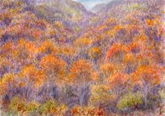 Autumn in Etna, watercolor and pastel by Jana Haasová