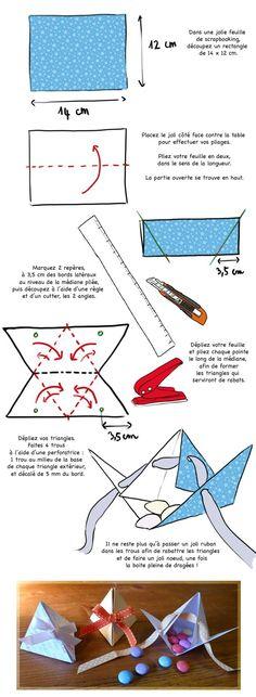 Kleine Dreiecksbox mit Schleifenverschluss von souriredange.canalblog.com