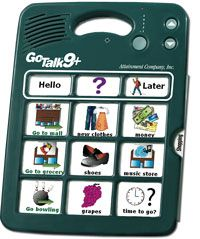 """GoTalk 9+ is an augmentative and alternative communication (AAC) device that allows users to record in their own voice messages from everday pharses to special occasion phrases.  This model has a 45 message capacity with 9 keys and 5 recording levels.   It also has 3 """"core messages"""" that stay the same on each level so no need for re-recording. Great for children & adults with limited or no speech, cerabral palsy, autism, strokes, head injuries or multiple disabilities. Price $179"""