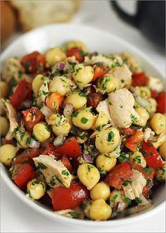 Tuna & Chickpea Salad no cheese but delicious