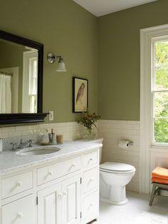 60 Fantastic Farmhouse Bathroom Vanity Decor Ideas And Remodel Green Bathroom Paint, Green Bathroom Colors, Bathroom Vanity Decor, Small Bathroom Storage, Bathroom Layout, Washroom, Gold Bathroom, Bathroom Trends, Bathroom Curtains