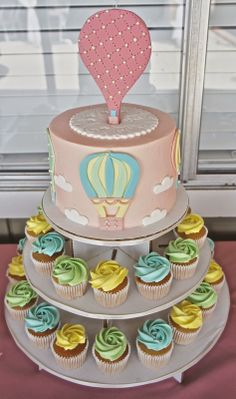 HOT AIR BALLOON CAKE by Half Baked Co. #girl #baby #shower #cake