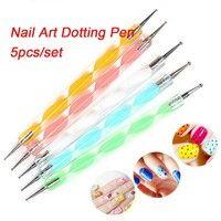 Fashion 5Pcs/Set Two Way DIY Nail Art Design Pen Brush Dotting Painting Pen Set Nail Art Tools Accessories