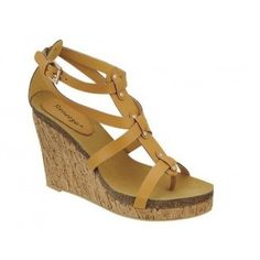 BIRD-1 Women High Heel Platform Ankle-Strap Wedges - Camel