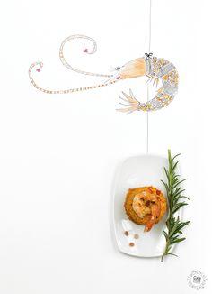 mhhh tasty paella recipe with a cute illustrated food photography example. by garwerkstatt salzburg