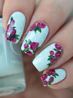 Classic Pink Rose Nail Art with Indigo Nails