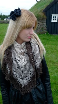 "Designed by Evelyn Clark, who said ""My Icelandic modern lace shawl was inspired by the beautiful Icelandic lace on display in the Nordic Heritage Museum."""