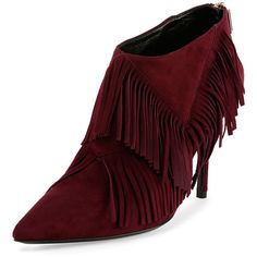 Roger Vivier Privilege Suede Fringe Bootie featuring polyvore, fashion, shoes, boots, ankle booties, maroon, high heel booties, pointed toe booties, high heel ankle boots, short boots and high heel boots