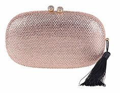 Chicastic Rose Gold Rhinestone Crystal Oval Hard Box Bridal Wedding Evening Clutch With Tassel -- Click image for more details.