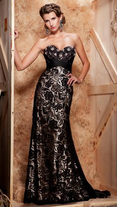 Beauty Elegance Black Lace Wedding Dresses Design with Pretty Style