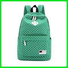 OUBAO Canvas Backpack Polka Dot School Shoulder Bag Travel Rucksacks (Green) - Shoulder bags (*Amazon Partner-Link)