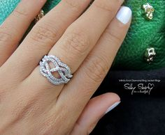 Infinity Knot Diamond With Jacket Rings - The Original  0.75ct , 14K Gold