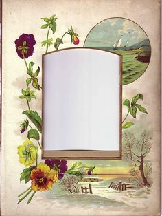 Lovely Mat Frame from Victorian Photo Album, Pansies, a Landscape, a Seascape