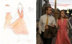 Sebastian (Ryan Gosling) walking in La La Land with Mia (Emma Stone) with a sketch of the coral colored dress by Mary Zophres. From Hollywood Reporter.