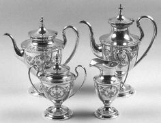 Old Maryland Engraved Sterling Silver Tea Set by Kirk Stieff