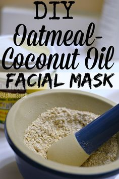 An easy DIY Oatmeal-Coconut Oil Facial Mask that will make your skin glow, is al… – gesichtsreinigung diy Coconut Oil Facial, Coconut Oil For Face, Homemade Facials, Homemade Beauty, Homemade Products, Facial Skin Care, Facial Masks, Facial Hair, Acne Facial