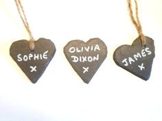 Heart Shape Slate Wedding Favour Name Tag Label Marker Table Place Setting Plant