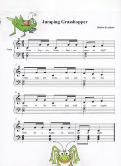 Let's Play Music uses bugs to teach rhythm! Try this Skipping song on the piano! Lds Music, Music Do, Music For Kids, Kids Songs, Music Stuff, Saxophone Sheet Music, Piano Sheet Music, Piano Lessons, Music Lessons
