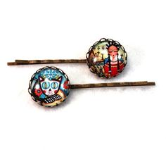 Frida and Cat Hair Clips! Mexican Day of the Dead Bobby Pins by Mary Ann Farley, $10.00, https://www.etsy.com/listing/169325898/mexican-day-of-the-dead-hairclips-bobby