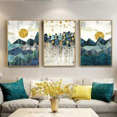 Buy Nordic Abstract Geometric Mountain Landscape Wall Art Canvas Painting Golden Sun Art Poster Print Wall Picture for Living RoomIn case you've merely started to reflect on small living room decorating ideas with fireplace for your house,Shop Wall V Diy Wand, Wall Art Designs, Wall Design, Design Art, Reproductions Murales, Landscape Walls, Landscape Paintings, Mountain Landscape, Art Paintings