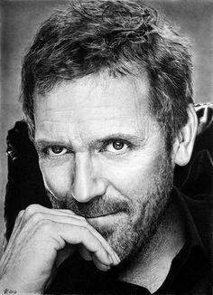 Hugh Laurie graphite portrait by Franco Clun
