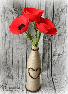 Сашин мир: МК Маки из фетра, мастер класс, как сделать цветок из фетра, felt flowers, felt poppies