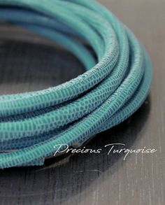 1ft turquoise leather cord, 4mm Faux lizard leather lace, Real leather cord, Aqua blue suede cord, leather for wraps, round leather cord rts Leather Cord, Leather And Lace, Real Leather, Cordon En Cuir, Blue Dream, Leather Necklace, How To Make Beads, Blue Suede, Lampwork Beads