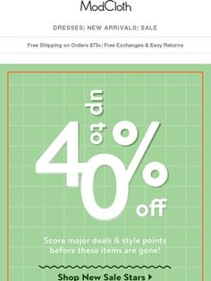 5e21fa93998d62 You want ANOTHER 40% off sale  Done. - Modcloth Sale Poster