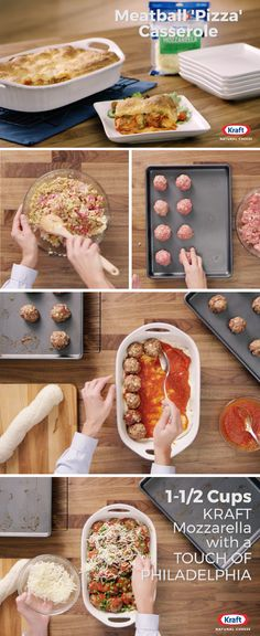 Meatball 'Pizza' Casserole – Win over the whole crowd at the dinner table with the help of this Italian-inspired recipe. Whether your family likes pizza, meatballs, or peppers or if you're just looking for ideas to get back into a cool-weather dinner rout Italian Recipes, Beef Recipes, Cooking Recipes, Pastry Recipes, Recipies, Great Recipes, Dinner Recipes, Favorite Recipes, Pizza Casserole