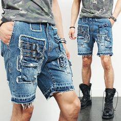Vintage Distressed Styling Multi Pocket Short Jeans