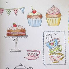 Rough sketches for tea time inspired motifs in Cross Stitch Crazy magazine issue 203 June 2015.