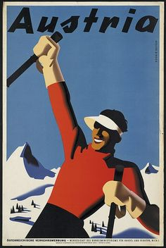 For Sale on - Original Vintage Winter Sport Skiing Poster For Autriche Austria Skier Mountains, Paper by Atelier Binder. Offered by Antikbar Limited.