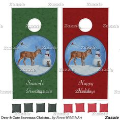 Winter wildlife cornhole set in red and green for Christmas | cute winter scene with rabbit and cardinal watching as a deer eats the smiling snowman's carrot nose | text is customizable | from ForestWildlifeArt at Zazzle