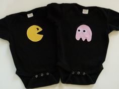 Funny Twins Pacman and Ghost Applique Onesie Baby Gift Set - Great for Multiples New Mom and Dad Gift