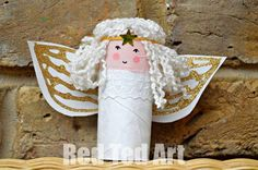 Toilet Paper Roll Angel Craft for Kids - Red Ted Art diy crafts with paper towel rolls - Diy Paper Crafts Christmas Activities, Christmas Crafts For Kids, Christmas Projects, Holiday Crafts, Christmas Decorations, Toilet Paper Roll Diy, Toilet Paper Roll Crafts, Diy Paper, Paper Art
