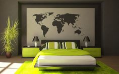 World map Vinyl Wall Decal - 45+ Beautiful Wall Decals Ideas  <3 <3