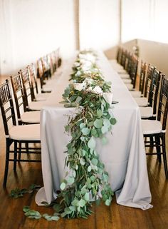 wooden tables with shorter floral garlands - Google Search