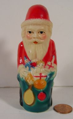 1930 Christmas Celluloid Toy Santa Claus with Bag of Toys... Viscoloid  on ebay
