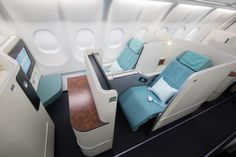 New Aircraft Interiors for Korean Air — PriestmanGoode Korean Airlines, Best Airlines, Business Class, Business Travel, Credit Card Points, Credit Cards, Fly Around The World, Aircraft Interiors, New Aircraft